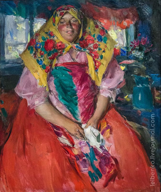 Архипов Абрам Ефимович. 1862-1930 БАБА В РОЗОВОЙ КОФТЕ. 1913 Холст, масло