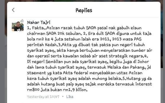 SU Akhbar MB Kedah Fitnah Almarhum Ustaz Azizan Isu Air