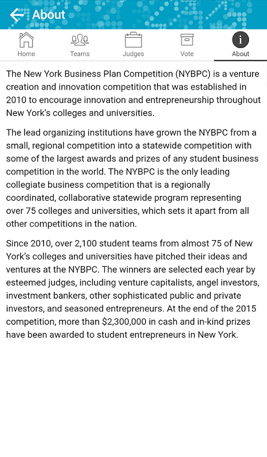 NY Business Plan Competition- screenshot
