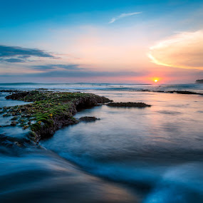 Sunset at Seseh Beach by Martin Yon - Landscapes Beaches ( bali, sunset, indonesia, seseh, wave, rock, beach, sun )