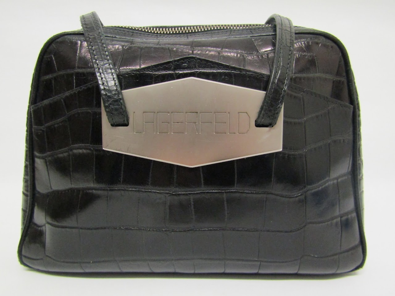 Lagerfeld Embossed Leather Shoulder Bag