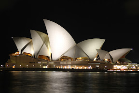 Side view of Sydney Opera House at night