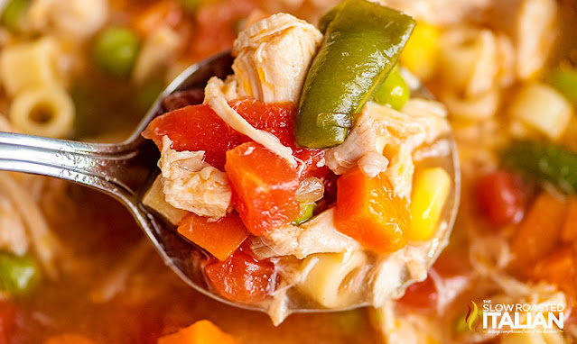chicken vegetable soup recipe on a spoon
