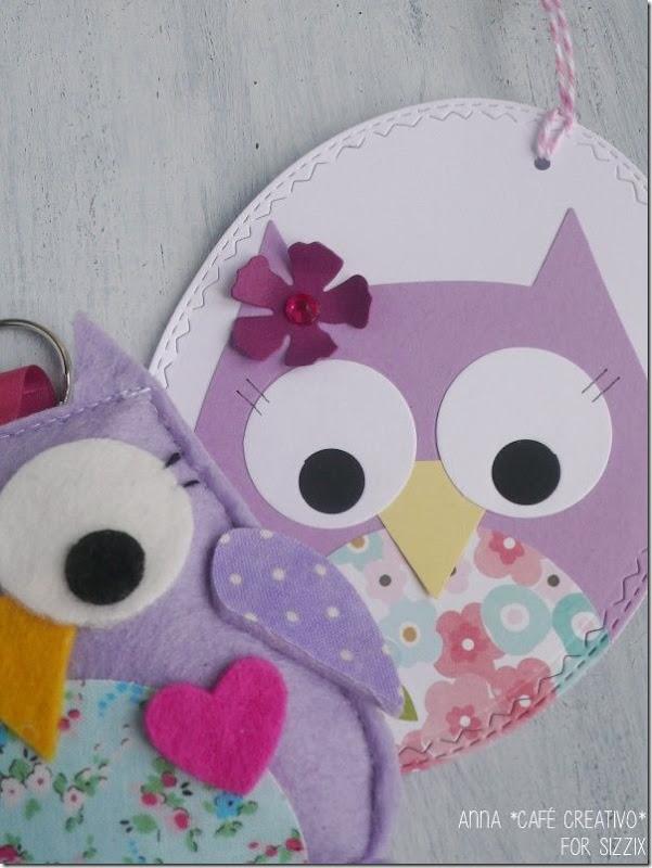Portachiavi feltro-gufo-Owl Felt-keychains-oval tag-sizzix-big-shot