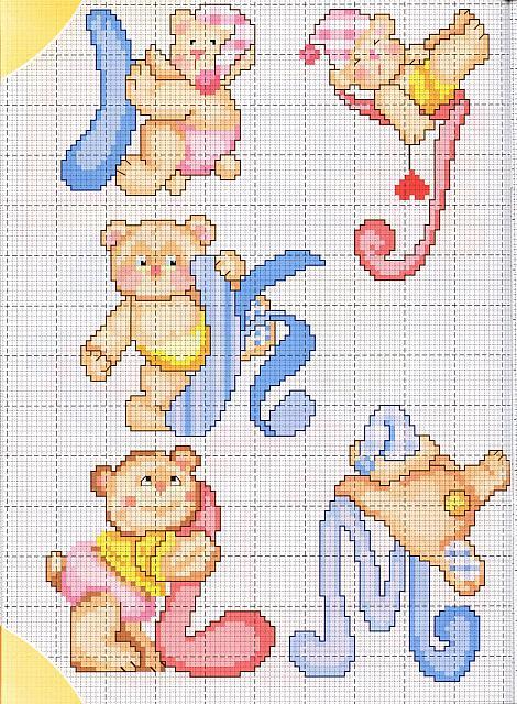 lo spazio di lilla alfabeto a punto croce con gli orsetti ForAlfabeto A Punto Croce Per Neonati