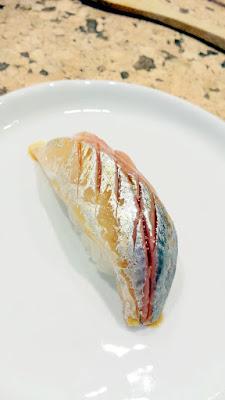 Aji sushi (Japanese horse mackerel) with shiso adn aged soy at Nodoguro SupaHardCore May 29, 2016