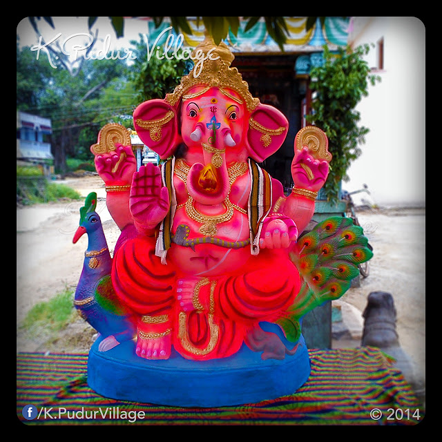 K.Pudur Village Vinayaka Chaturthi festival celebration 2014 (The front of Vinayaka statue)