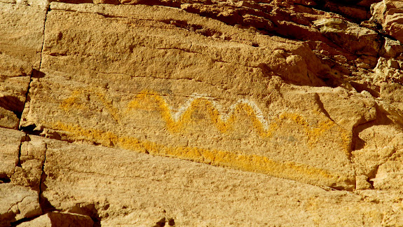 White and yellow pictographs