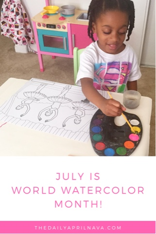 black brown girl painting watercolor coloring top mom mommy blogger art thedailyaprilnava atlanta georgia