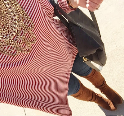 baublebar statement necklace, over the knee boots, mom style