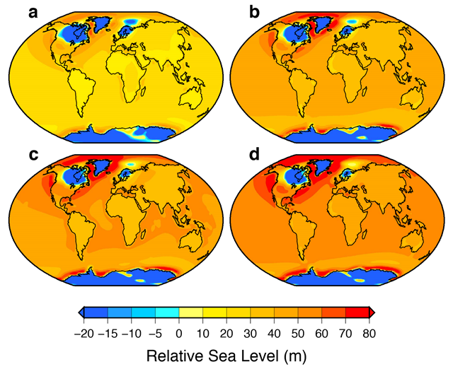 Maps showing projected patterns of relative sea-level change at 10,000 years for four emission scenarios from version 2.8 of the UVic model: (a) 1280 PgC, (b) 2560 PgC, (c) 3840 PgC and (d) 5120 PgC. Each map includes the contributions from future ice melting and the on-going isostatic response of the Earth to the most recent deglaciation. For each scenario, the global mean sea-level (GMSL) values are approximately: (a) 21 m, (b) 33 m, (c) 39 m, and (d) 44 m (these values include a contribution from isostatic processes. The global mean contributions from ocean warming and glacier melting are not included (they are less than 5 percent of the GMSL values given above for all emission scenarios). Graphic: Clark, et al., 2016 / Nature Climate Change