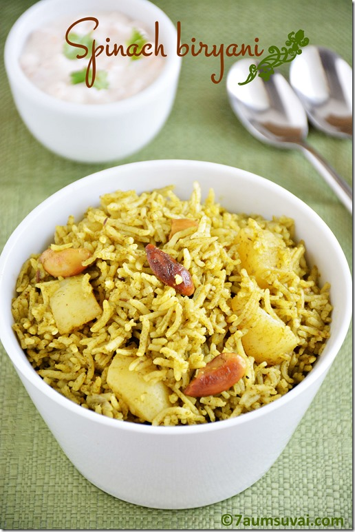 Spinach potato biryani