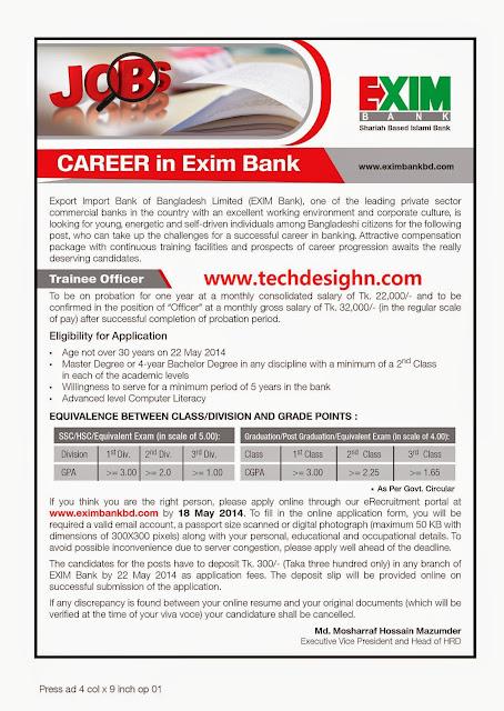 exim bank officer job information