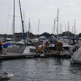 21 July 2012 - Fire Service personnel in attendance at the scene of a fire onboard a motor cruiser. Photo: RNLI/Poole