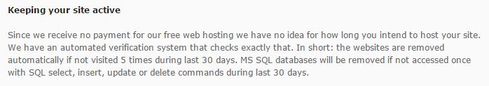 網站或資料庫流量低於限制,將自動刪除您的網站。