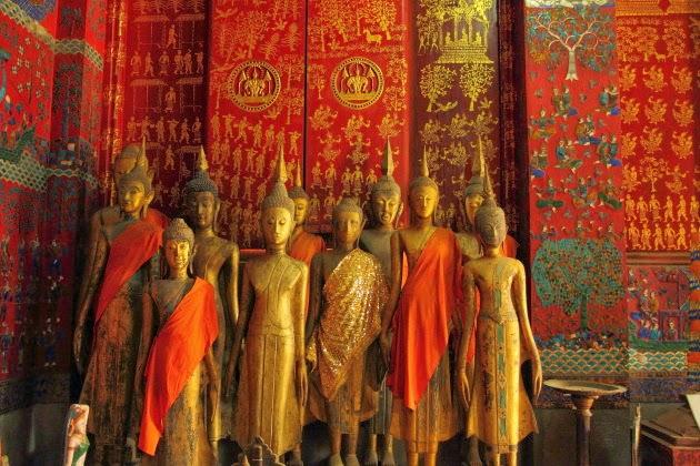 Wooden Buddha Statues inside Wat Xieng Thong, Luang Prabang, Laos