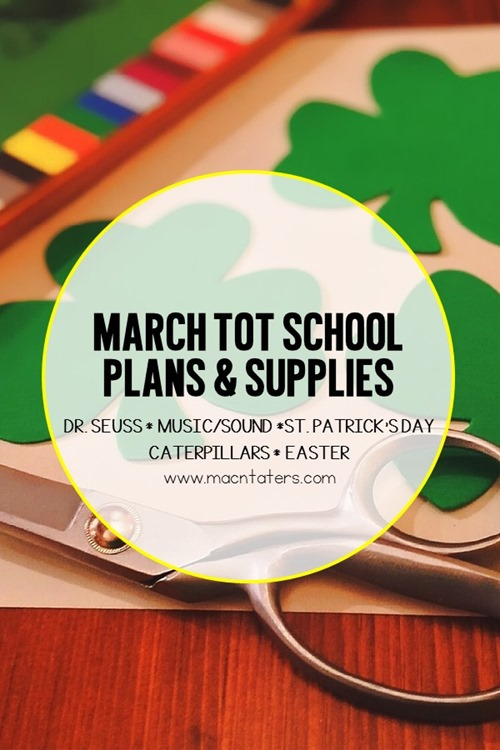 These March tot school curriculum plans will help you prepare for an entire month of learning fun with your littlest toddler. Themes include Dr. Seuss, Music/Sound, St. Patrick's Day, Caterpillars, and Easter.There are many great toddler learning activities including fine motor activities, gross motor activities, crafts for kids, sensory activities, and fun food ideas. A supply list for the entire month is also included.