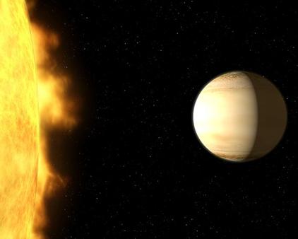 ilustração do exoplaneta Wasp-39b e sua estrela progenitora