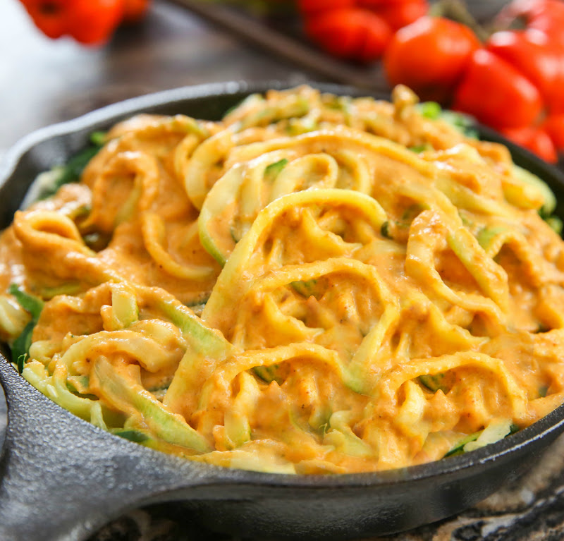 photo of Zucchini Noodles with Pumpkin Sauce in a skillet