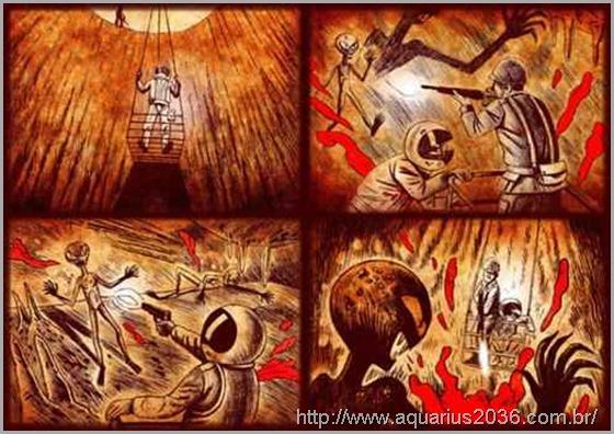 Uma luta na base subterranea com aliens
