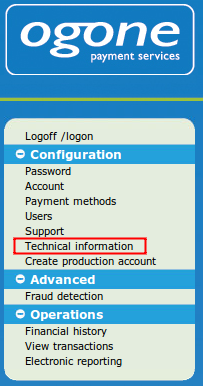technical information menu