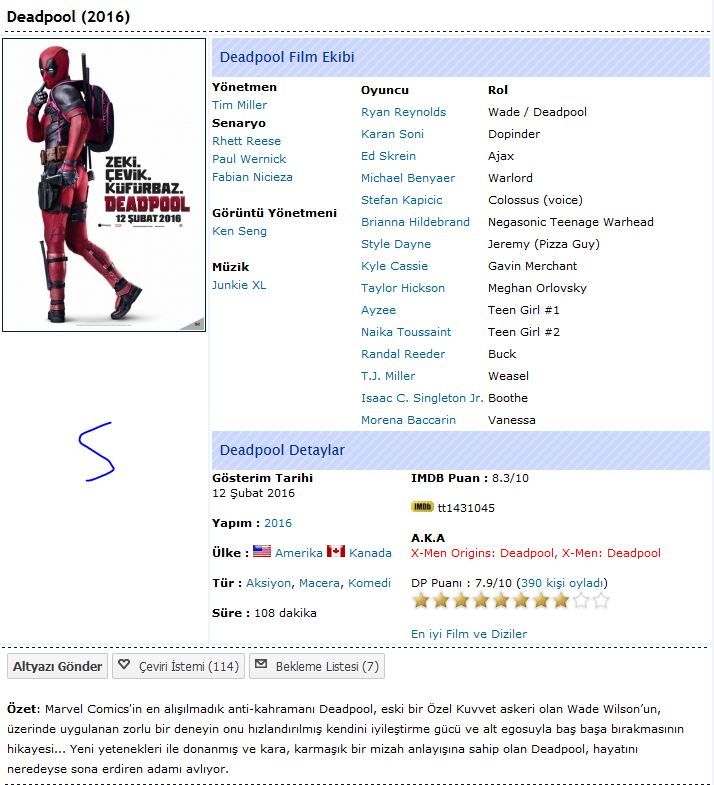 Deadpool - 2016 Dual 720p - 1080p BluRay X264 Tek Link indir
