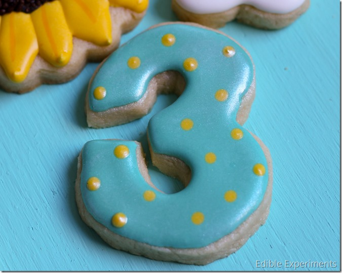 Frozen Fever Sugar Cookies - teal number 3 cookie for birthday party