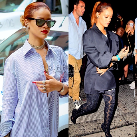 Rihanna in Sergio Rossi Fall 2015 Boots at Up & Down Nightclub