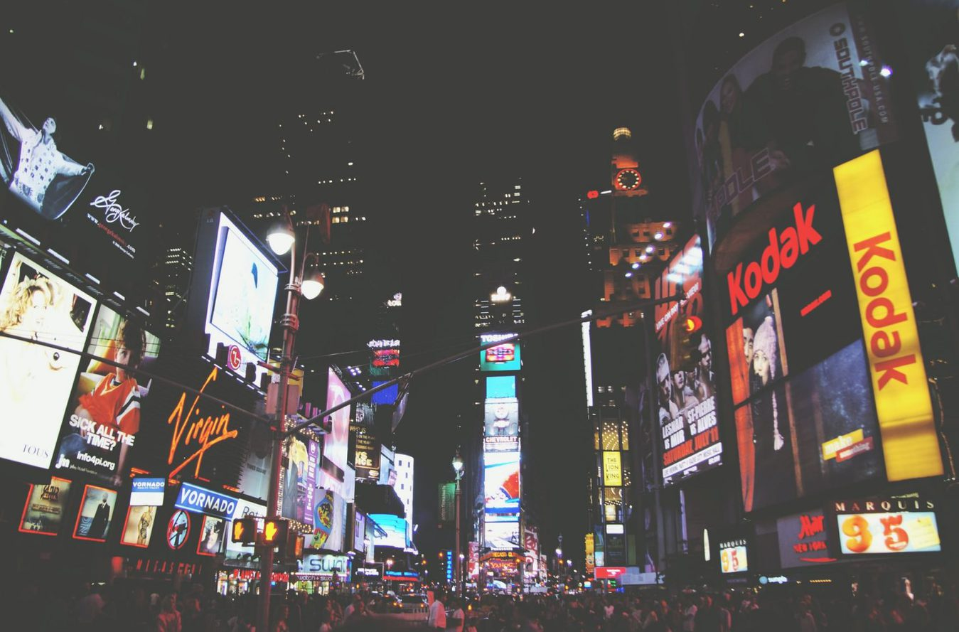 Time Square at night with lots of ads