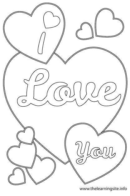 Love You Heart Coloring Pages