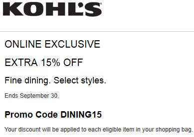 Kohls extra 15% off fine dining 2015