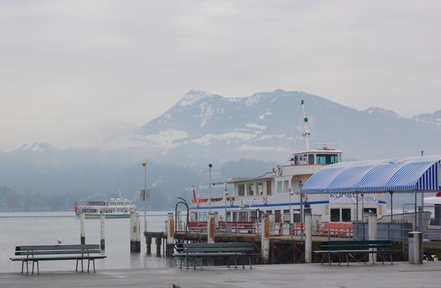 Cruising on Lake Lucerne, Switzerland on a misty morning