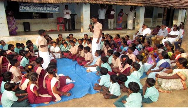 அரசு பள்ளி மாணவர்கள் நடத்திய சிறப்பு கிராம சபைக் கூட்டம்.