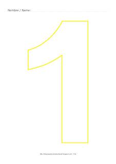 Lámina para colorear y pintar el número uno en color amarillo