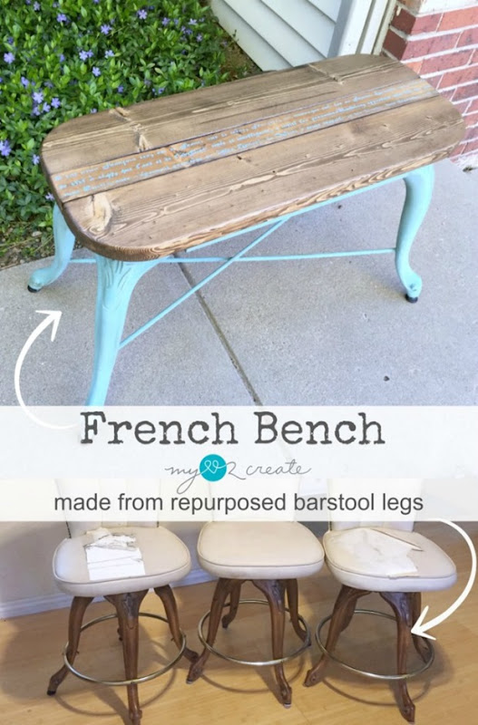 french-bench-made-from-repurposed-barstool-legs-MyLove2Create