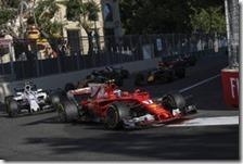 Kimi Raikkonen con la Ferrari a Baku