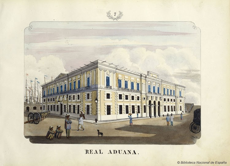 La Real Aduana. Acuarela del ALBUM: VISTAS DE LAS YSLAS FILIPINAS Y TRAGES DE SUS HABITANTES 1847. Biblioteca Nacional de España.bmp