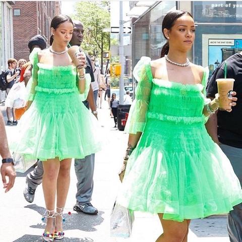 Rihanna wears Molly Goddard Sophie Dress, Aquazzura Pom Pom Sandals