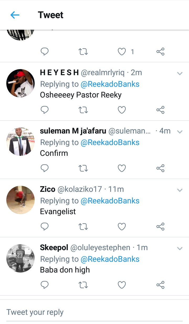 Reekado Banks Preaches On Twitter, Fans Reacts (Photos) 12