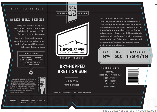 Upslope Adding Lee Hill Series Vol 15 Dry-Hopped Brett Saison