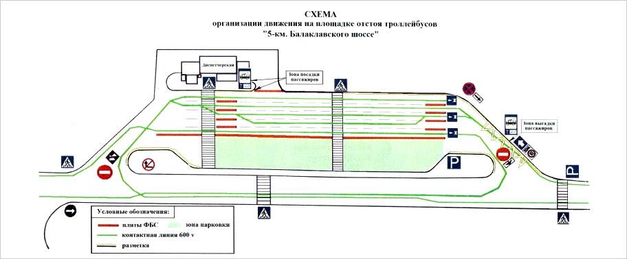 Cхема организации дорожного движения на площадке в районе 5 километра Балаклавского шоссе