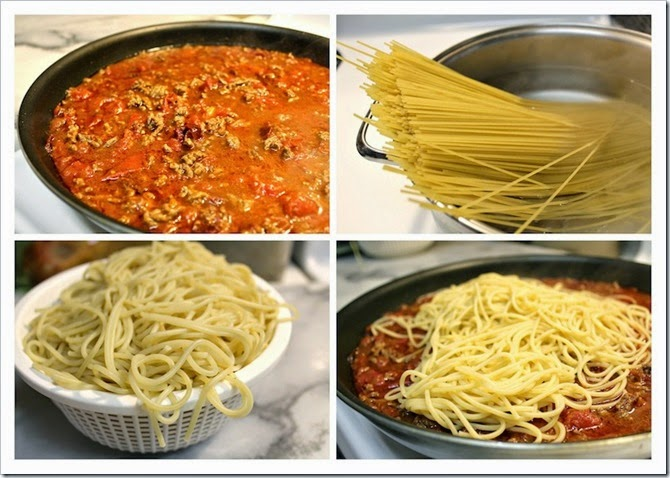 Spaghetti with Chipotle Ground Beef and Cotija | Instrucciones step by step