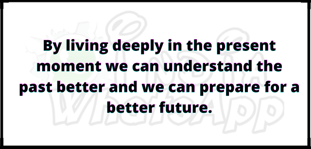 By living deeply in the present moment we can understand the past better and we can prepare for a better future.