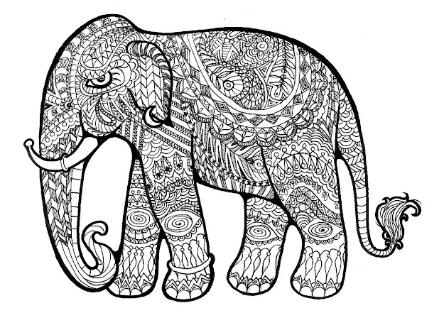 Floral Elephant Coloring Pages For Adults  Download Hd Elephant Drawing  Download Hq Elephant Drawing Posters