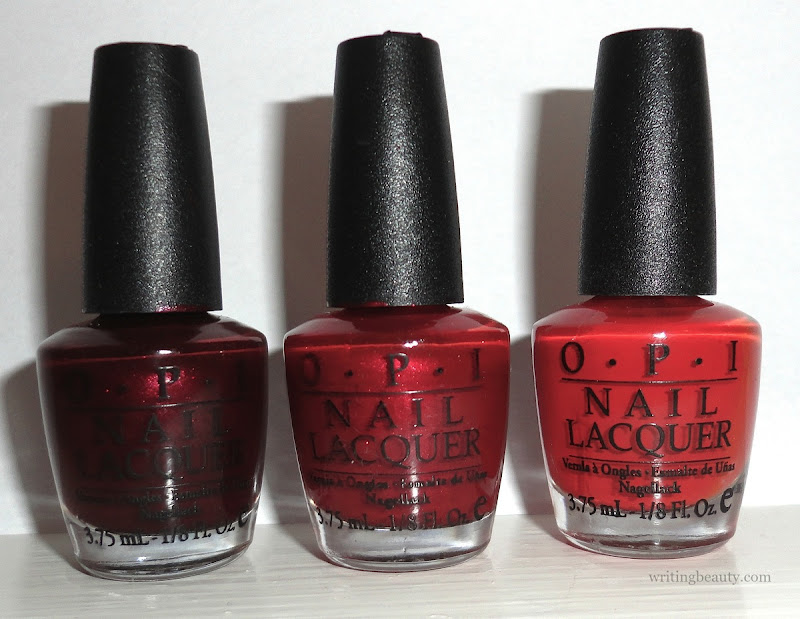 Winter 2016 nail polish favourites OPI Glove You So Much Meet  Jingle Off with Her Red
