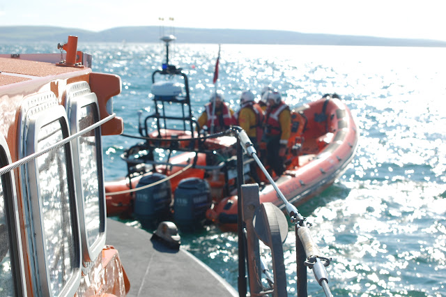 21 August 2011 - The stern tow in place with the ALB under tow. Photo: RNLI Poole/Dave Riley