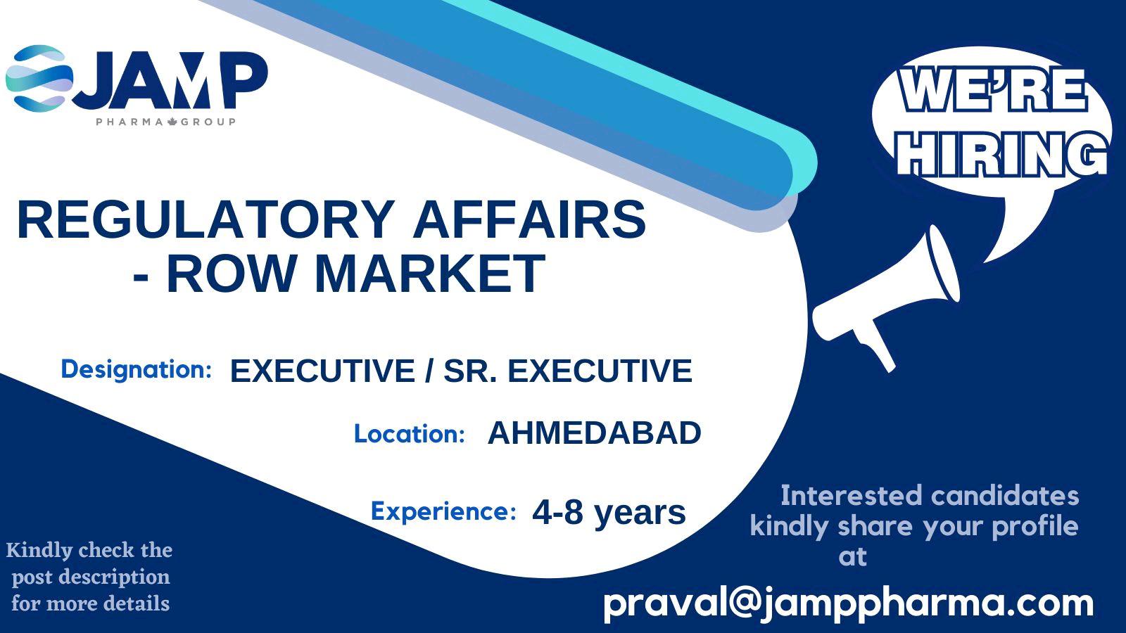 Opening For Regulatory Affairs At JAMP Pharma