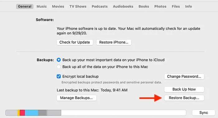 إفراغ مساحة تخزين iPhone استعدادًا لاستعادة iTunes
