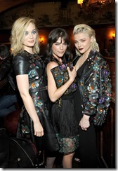 HOLLYWOOD, CA - MARCH 30:  (L-R) Actors Bella Heathcote, Selma Blair, and Chloe Grace Moretz attend the Coach & Rodarte celebration for their Spring 2017 Collaboration at Musso & Frank on March 30, 2017 in Hollywood, California  (Photo by Donato Sardella/Getty Images for Coach)