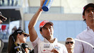 Sergio Perez waves to the crowd
